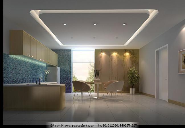 餐厅效果图 背景墙设计 橱柜 地砖 吊顶设计 接待室 室内效果图