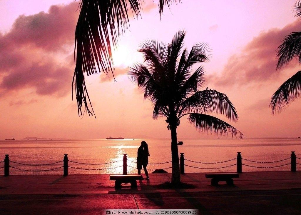 三亚 大海 自然风光 沙滩 海边 海水 海面 海湾 观光 游客 椰子树