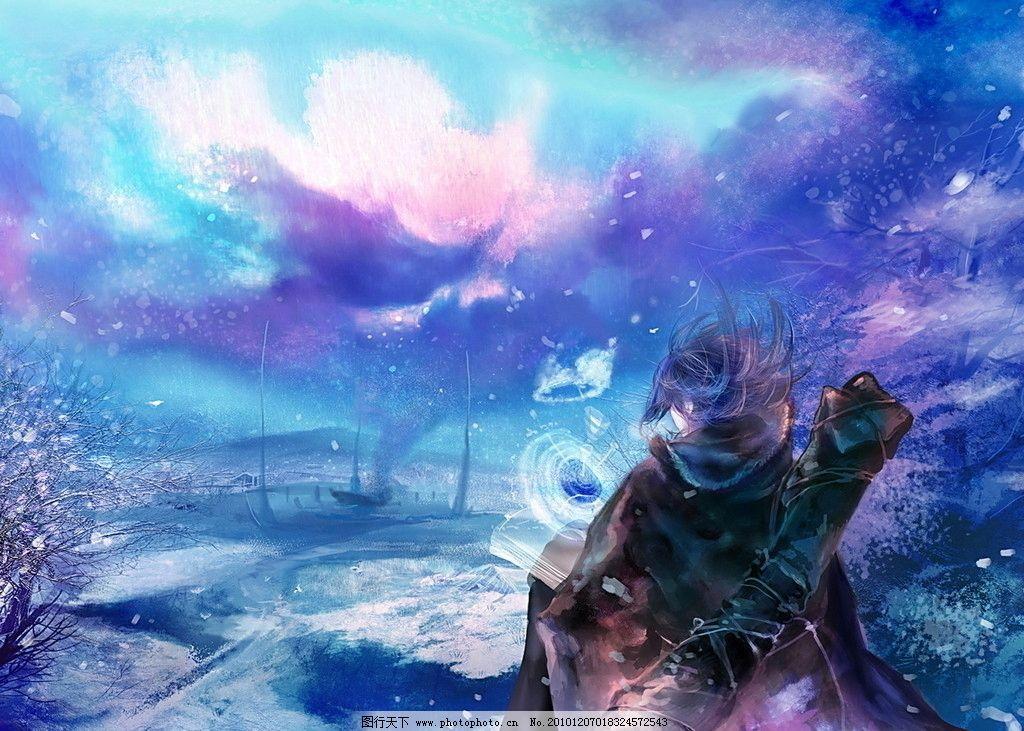 cg游戏 男生 背影 紫色 梦幻 场景 角色 树 小溪 动漫人物 动漫动画