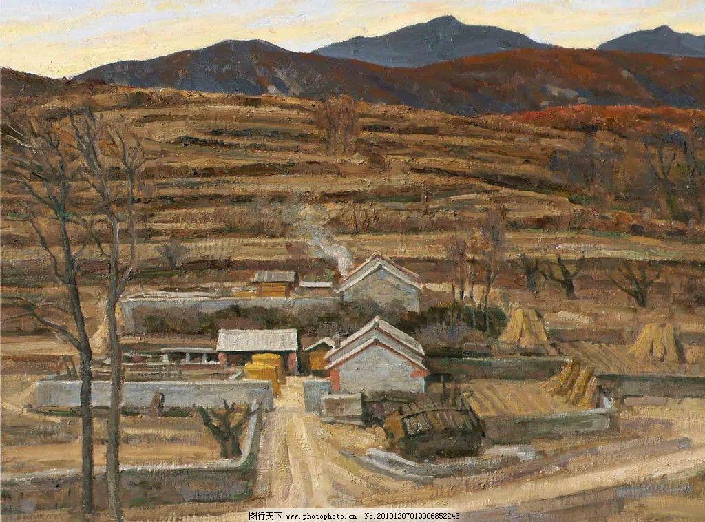 山村油画 村庄 风景油画 风景 绘画 艺术 油画作品 绘画书法 油画