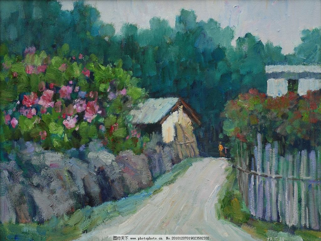 小路 院子的花 房子 中國畫