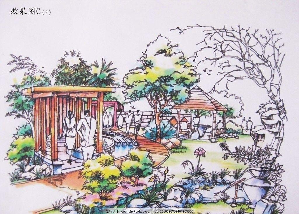 园林手绘 园林 手绘 马克笔