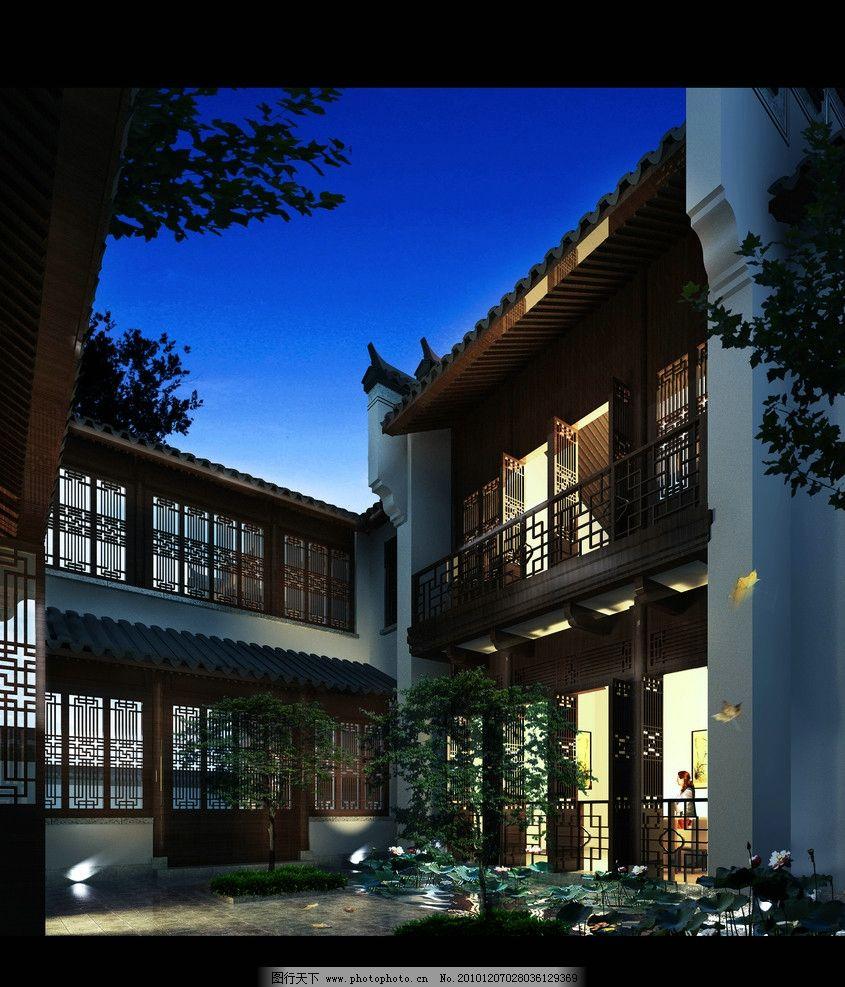 茶楼设计效果 中式 茶楼 花格窗 花格门 院子 马头墙 徽派 夜景 池塘