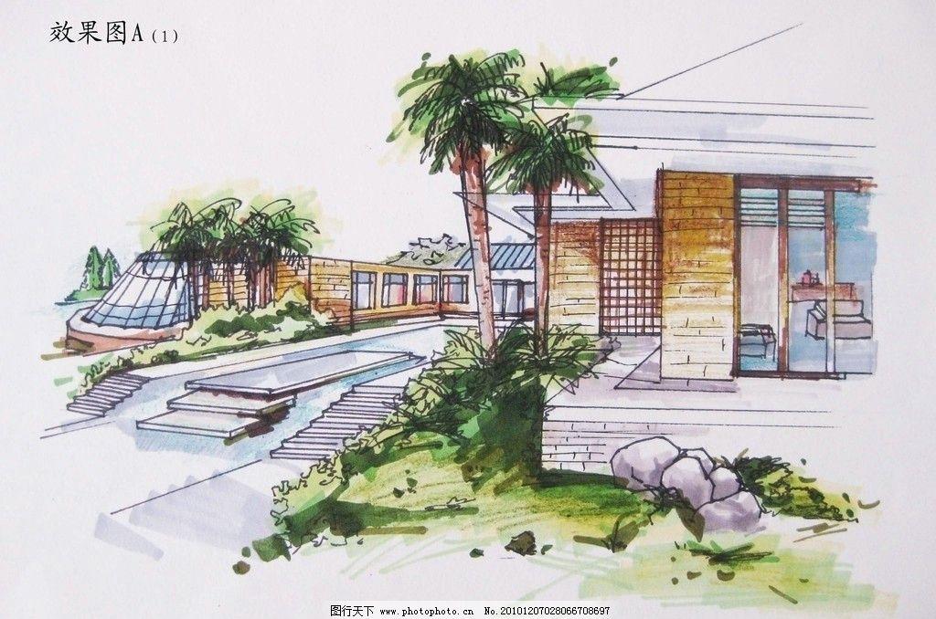 别墅手绘 别墅 景观 手绘 马克笔 彩铅 建筑设计 环境设计 设计 180