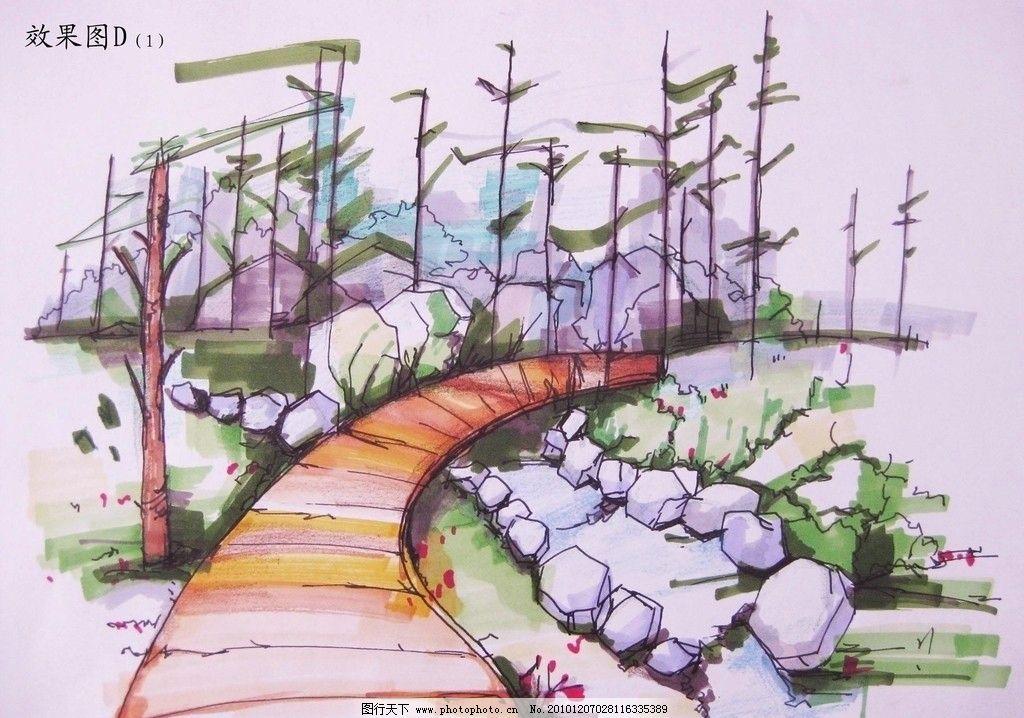 景观小品 景观 木桥 花园 手绘 马克笔 景观设计 环境设计 设计 180