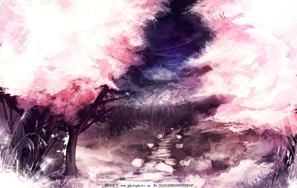 樱花树小路图片_风景漫画