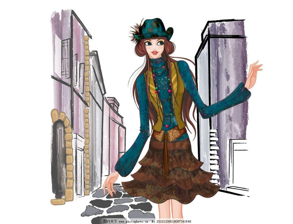 手绘时尚美女 时尚 手绘 炫彩 美女 马路 帽子 裙子 小外套 高楼 绘画