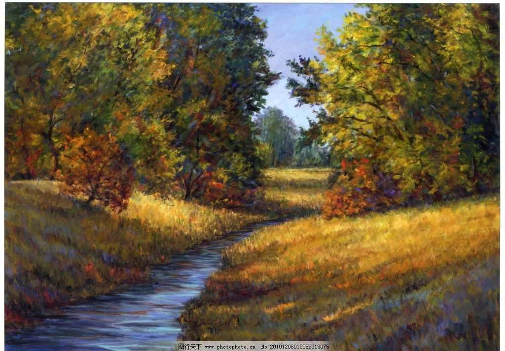 油画风景 抽象油画 山水油画 外国风景 秋色树林 绘画书法 文化艺术