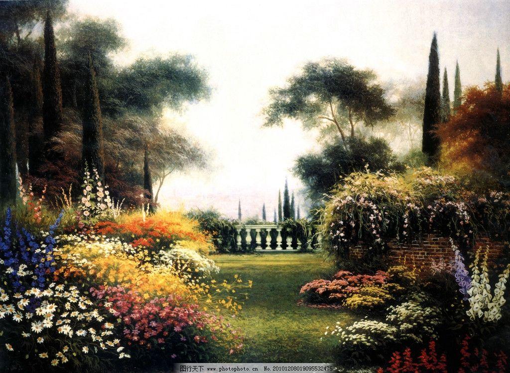 油画风景 田园 唯美 小房子 小木屋 松树 花朵 红花 建筑 民居 花园