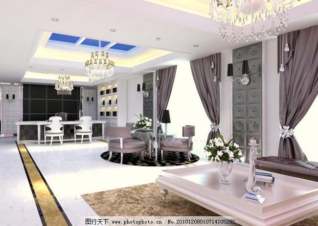 客厅效果图 吊顶 光带 家具 楼梯 室内设计 大理石地板 筒灯