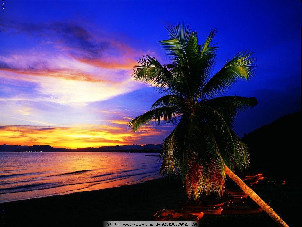 风景 大海 白云 蓝天 海边 树 夕阳 沙滩 椰子树 阳光 国内旅游