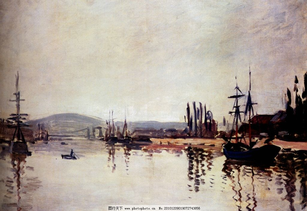 画家作品 西方油画 印象派 经典油画 天空 白云 小船 帆船 大海 海洋