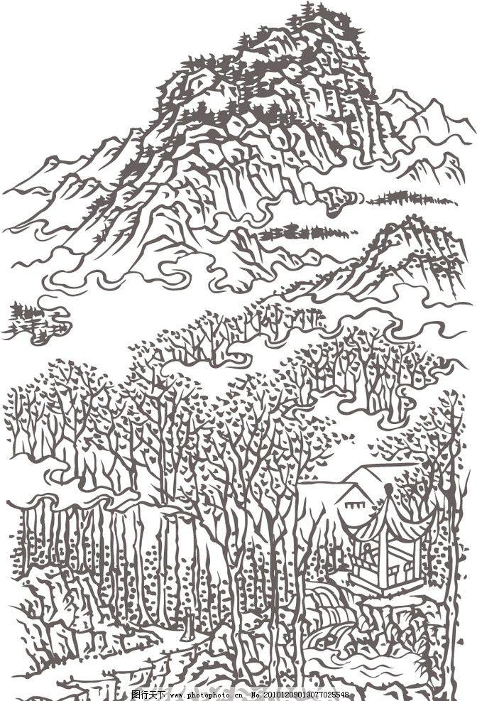 泰山矢量白描圖 手繪 線稿 亭子 松樹 林間小道 河流 樹木 美術繪畫