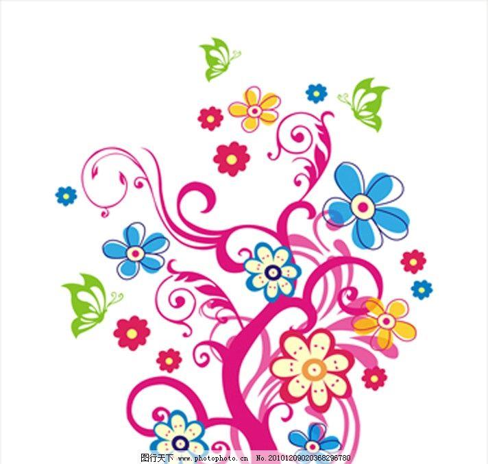 花树 蝴蝶 艺术玻璃 藤蔓 花纹花边 底纹边框 矢量 cdr