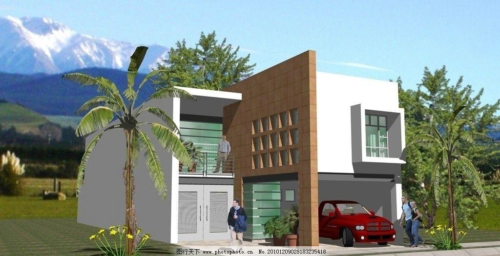 欧式小型别墅建筑方案图片_景观设计_环境设计_图行
