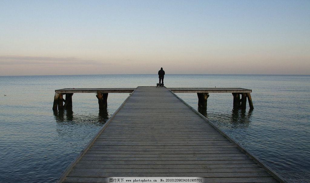 栈桥图片,风景 河畔 湖畔 海边 孤独 大海 旅游摄影