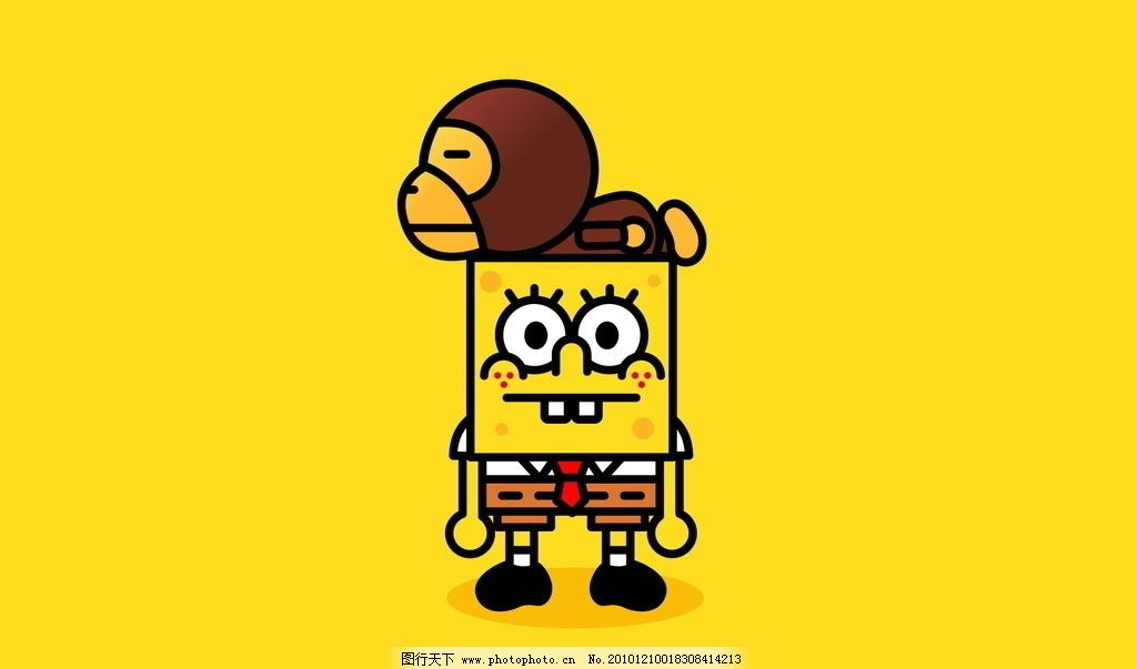 海绵宝宝 猴子 桌面 墙纸 壁纸 动漫人物 动漫动画 设计 72dpi jpg