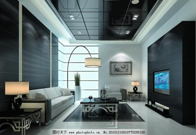 瓷砖客厅铺贴效果图 瓷砖 整体 大理石 抛光砖 黑色家居 黑白灰色调