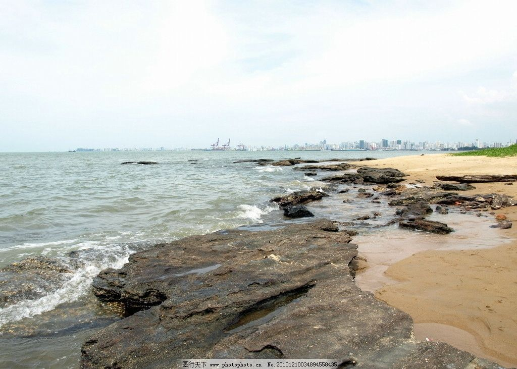 自然 自然风光 南海风光 海湾 蓝天 白云 沙滩 海边 焦石 自然风景