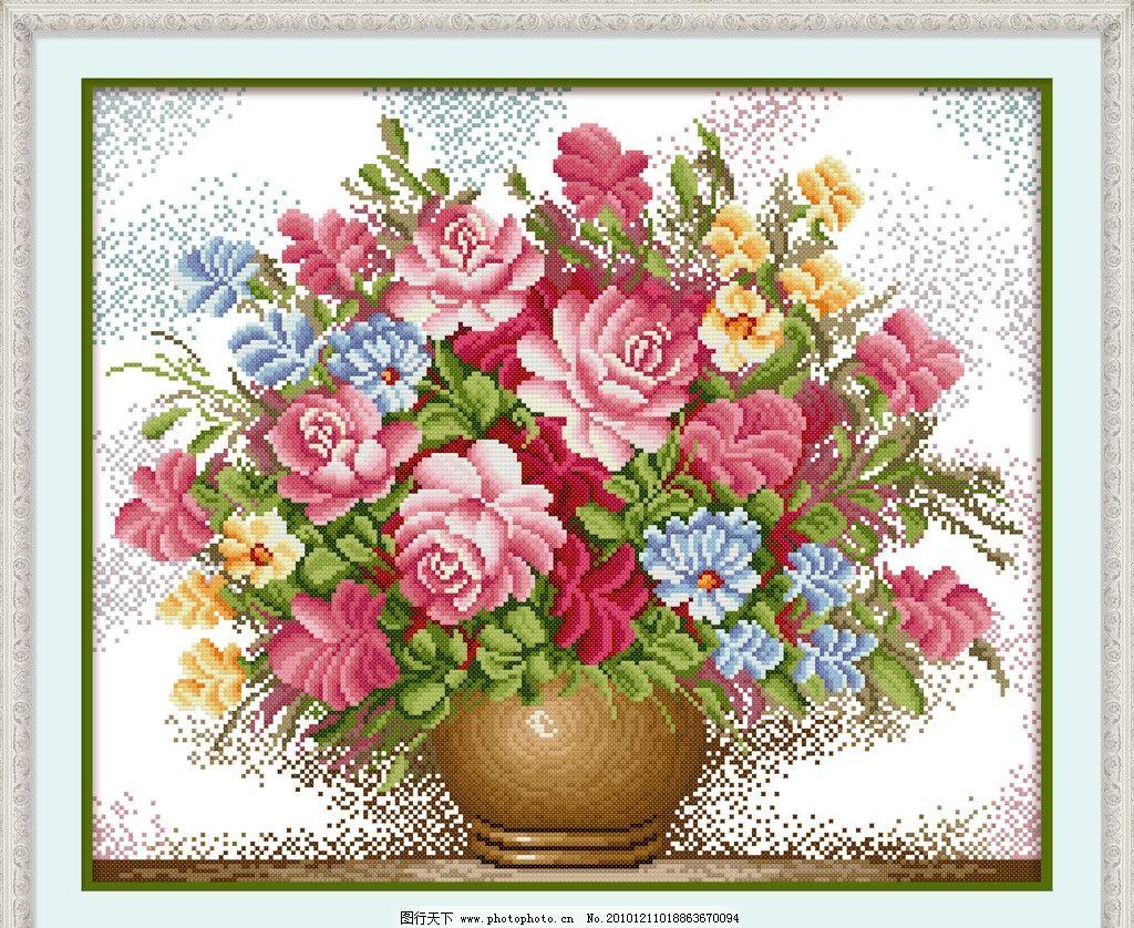 粉红玫瑰 十字绣 十字绣图片