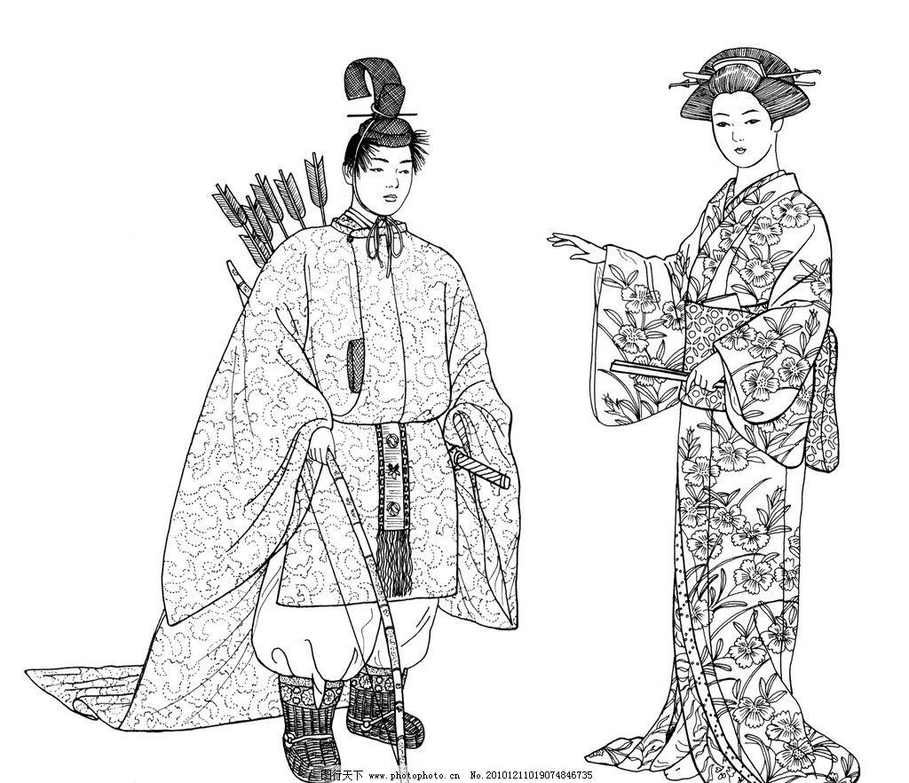 日本传统服饰 日本 传统 服饰 古典 黑白 线条 古代 弓箭 和服 武士