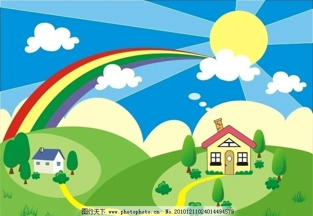 彩虹 小房子 蓝天 白云 房子 太阳 草地 自然风景 自然景观 矢量 cdr