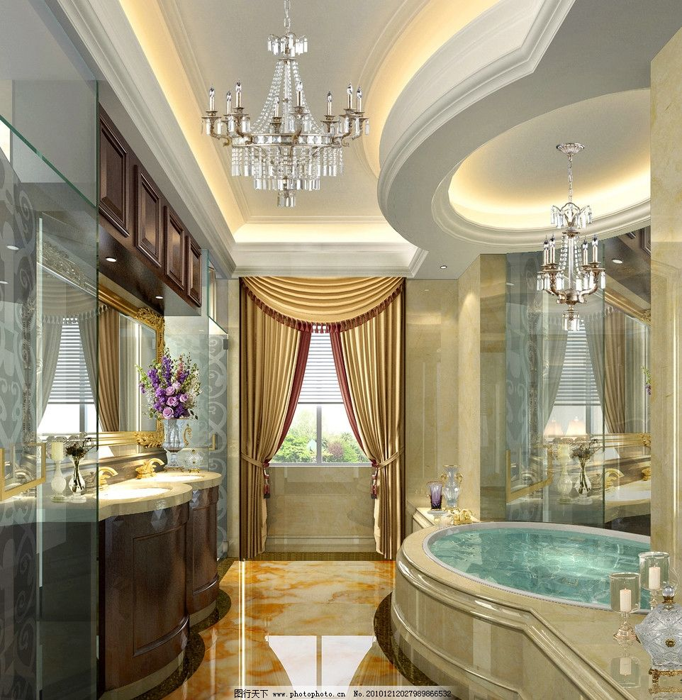 别墅卫生间效果图 卫生间设计 欧式卫生间 浴缸 别墅客厅效果图 室内
