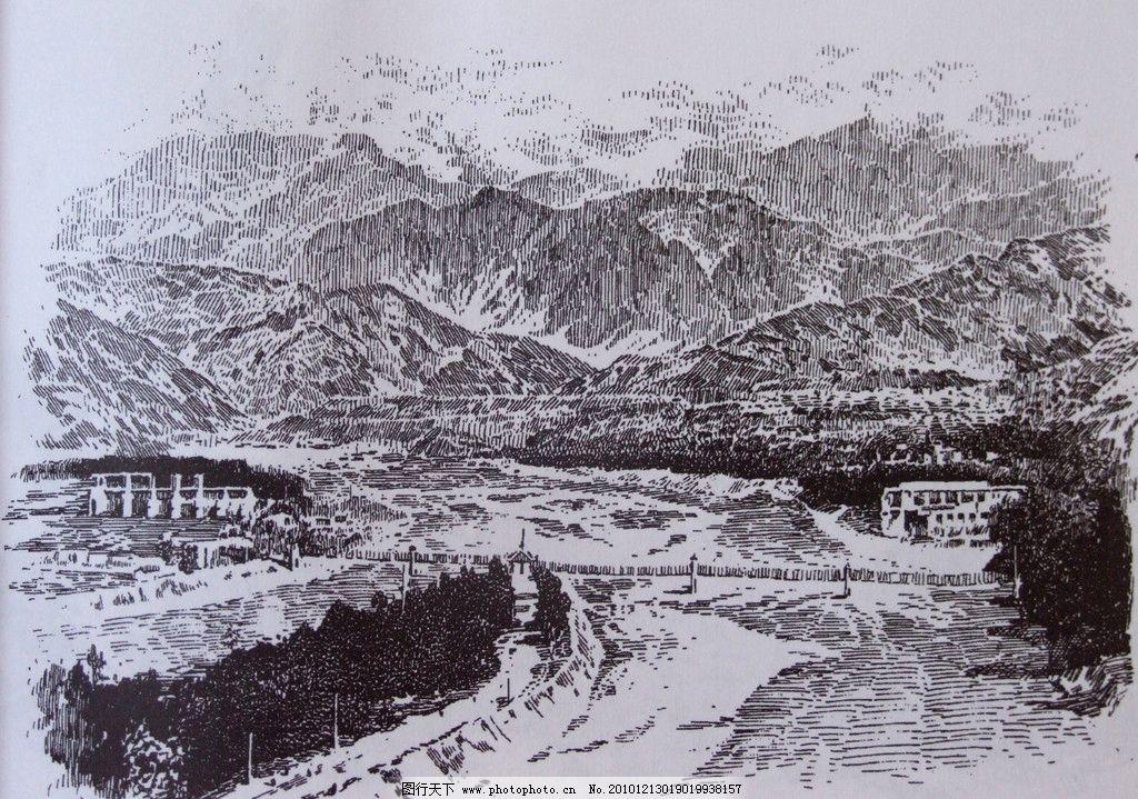 钢笔风景画 钢笔素描 线条 风景画 黑白画 线稿 线描 山 江 桥 树