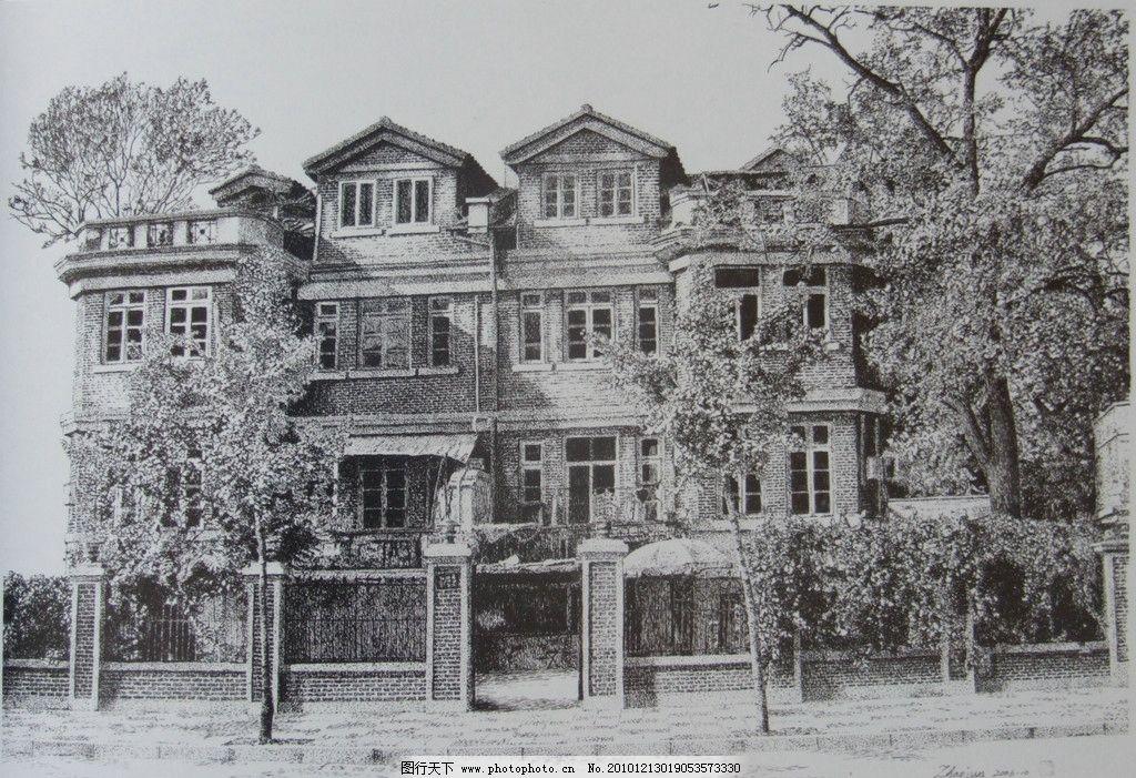 钢笔素描 线条 风景画 黑白画 线稿 线描 钢笔建筑 建筑 房子 树 绘画