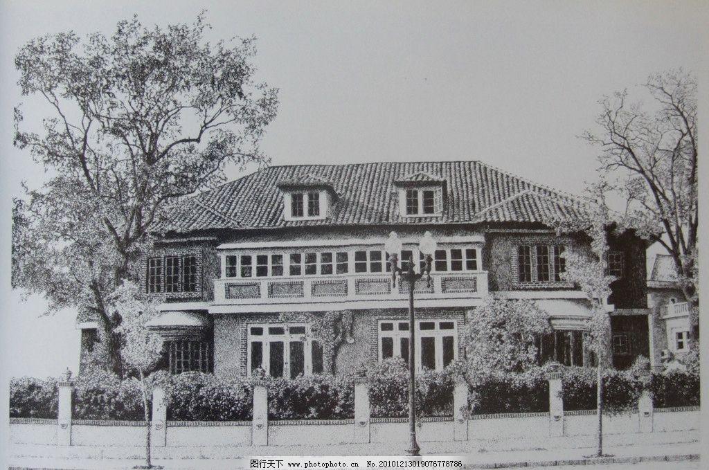 钢笔建筑画 钢笔素描 线条 风景画 黑白画 线稿 线描 建筑 房子 树