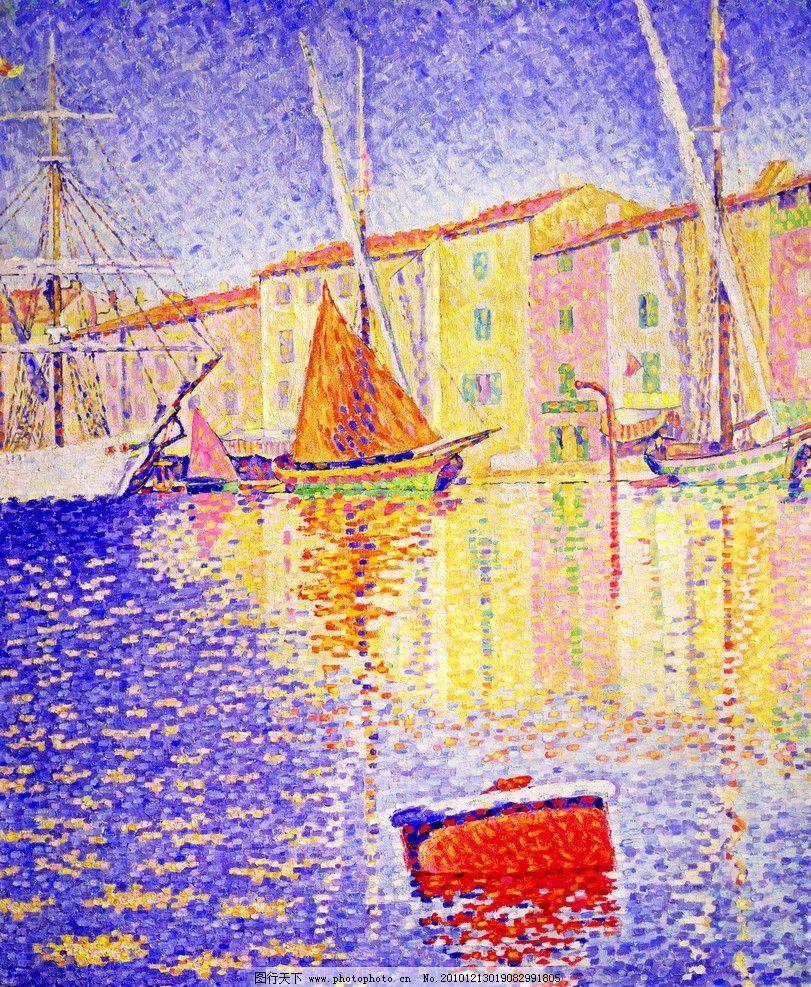 风景水彩画 油画水彩 船 渲染 港湾 天空 颜色 绚丽 水彩风景插画