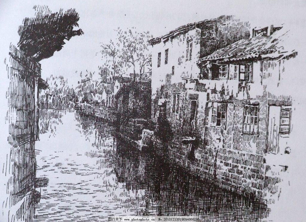 素描巴黎铁塔风景画图片