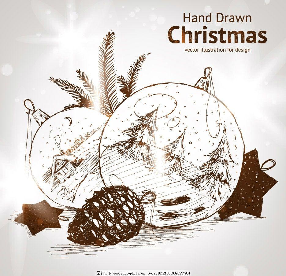 手绘圣诞背景 手绘 钢笔画