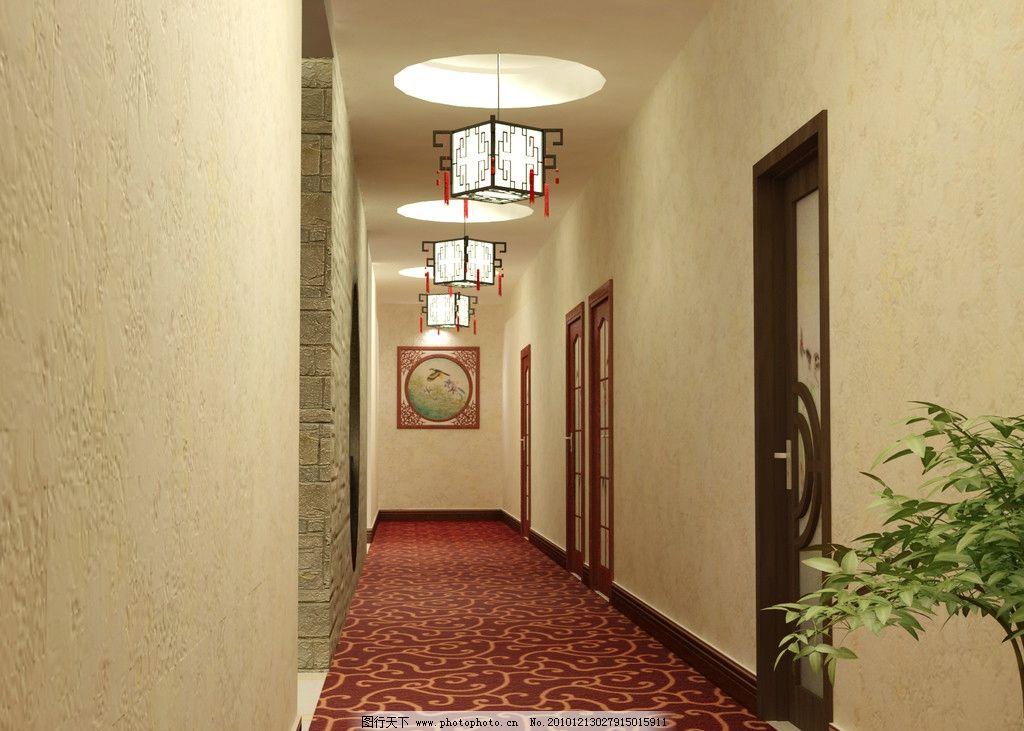走廊 酒店 灯光 餐厅 中式 室内效果图