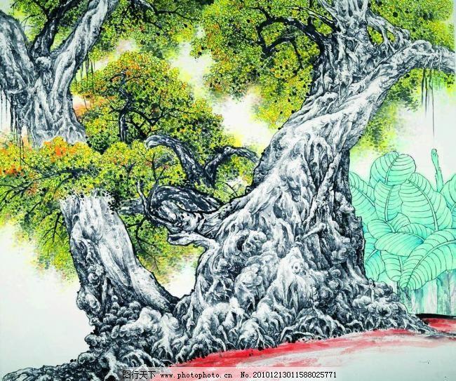 岭南榕树 美术 绘画 中国画 彩墨画 水墨画 风景画 树木 大榕树 蕉林
