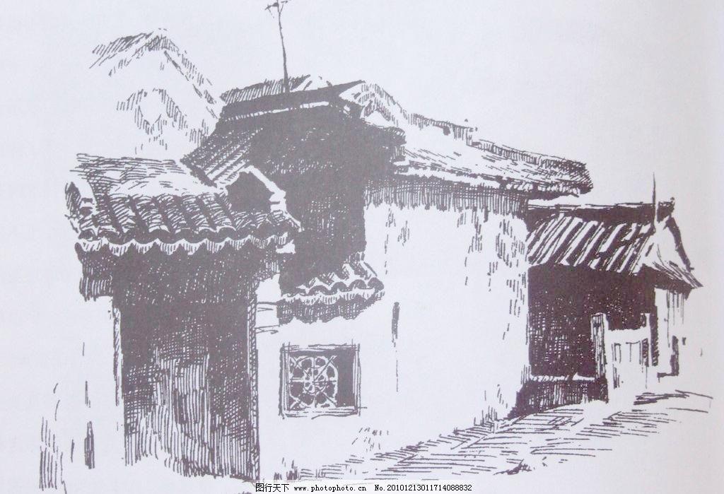 手绘黑白北京风景
