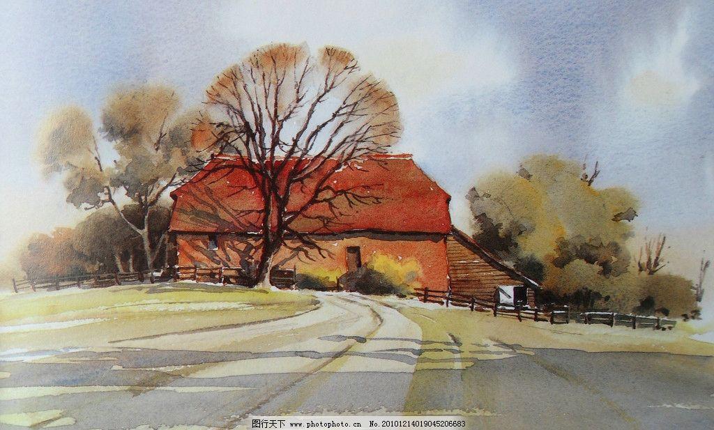 水彩画 风景 水彩风景画 路树 红房子 建筑 绘画书法 文化艺术