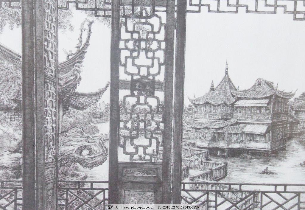 钢笔素描 线条 风景画 黑白画 线稿 线描 窗子 镂空 花窗 古楼 绘画