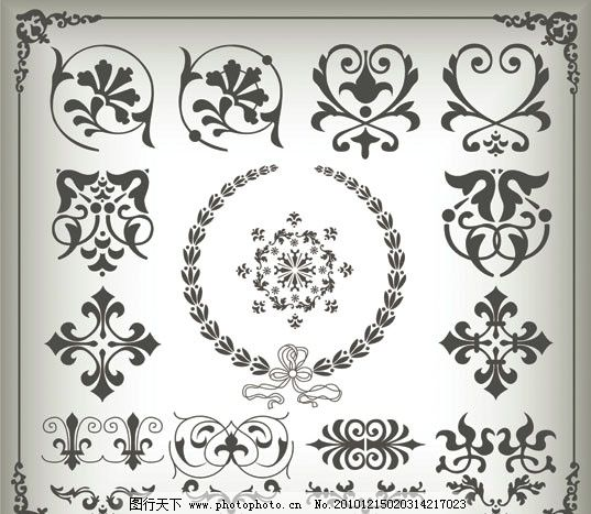 欧式花纹边框 欧式 花纹 花边 底纹 黑白 边框 时尚 传统 古典 花纹