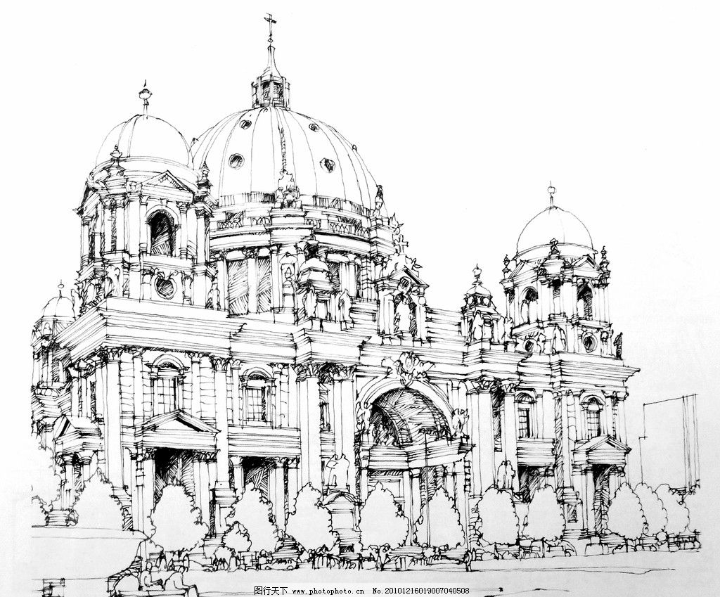 商场大堂钢笔手绘线稿