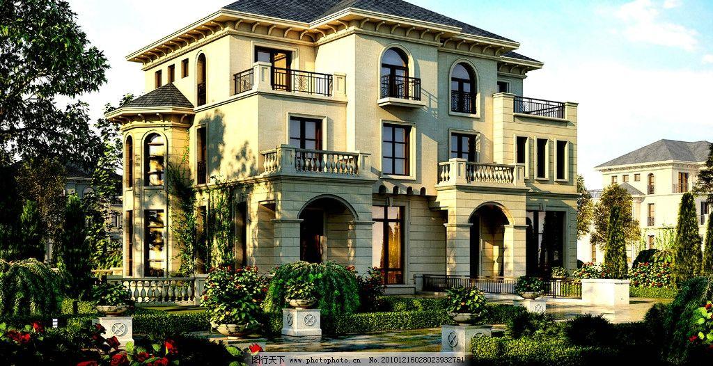 别墅外观 美术设计 楼宇设计 建筑效果图 楼房 别墅 住宅建筑 小区 路