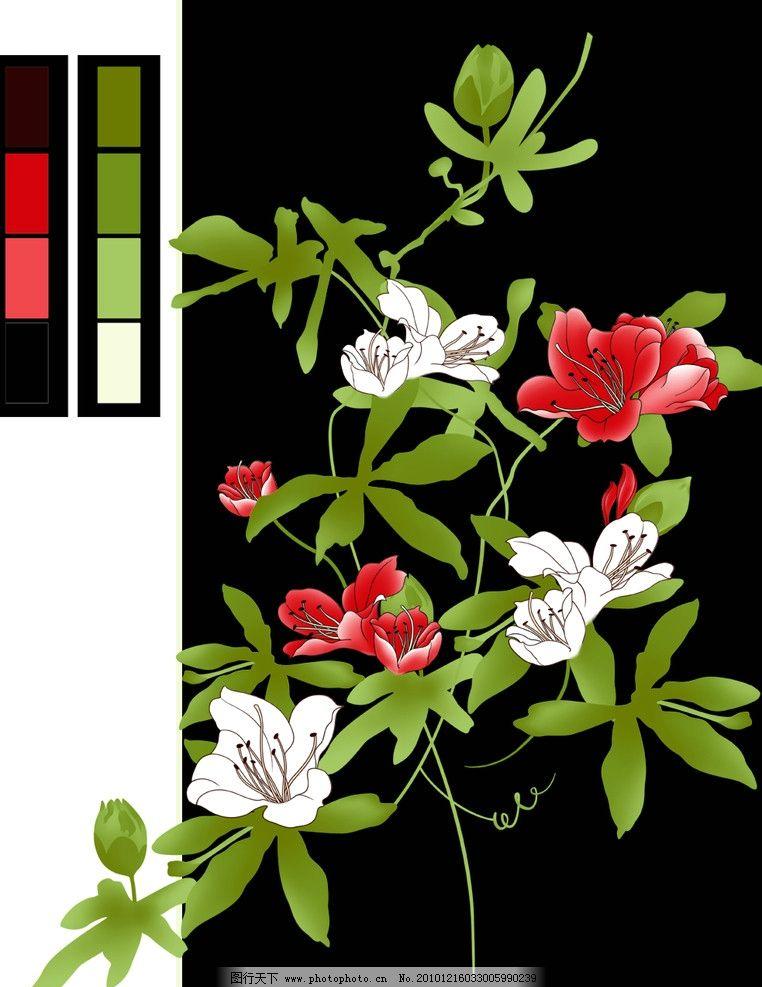 手绘花卉 手绘素材 山水画风景 红花 绿叶 白花 花朵 源文件