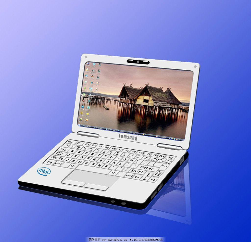 笔记本电脑 笔记本 电脑 蓝色 科技 屏幕 键盘 psd 分层 源文件 手绘