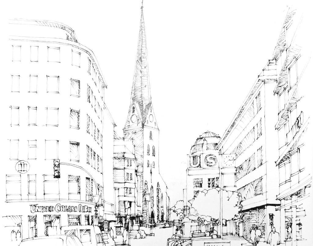 街道设计素材 街道模板下载 街道 钢笔画 钢笔风景画 钢笔素描 线条