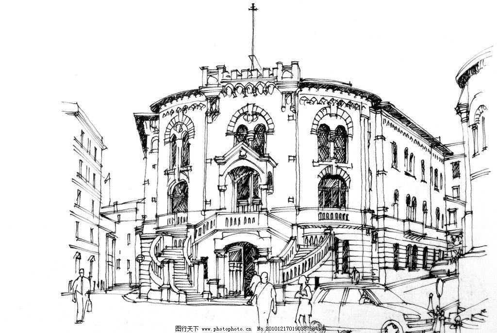 钢笔素描 线条 风景画 黑白画 线稿 线描 钢笔建筑 建筑 房子 街道 车