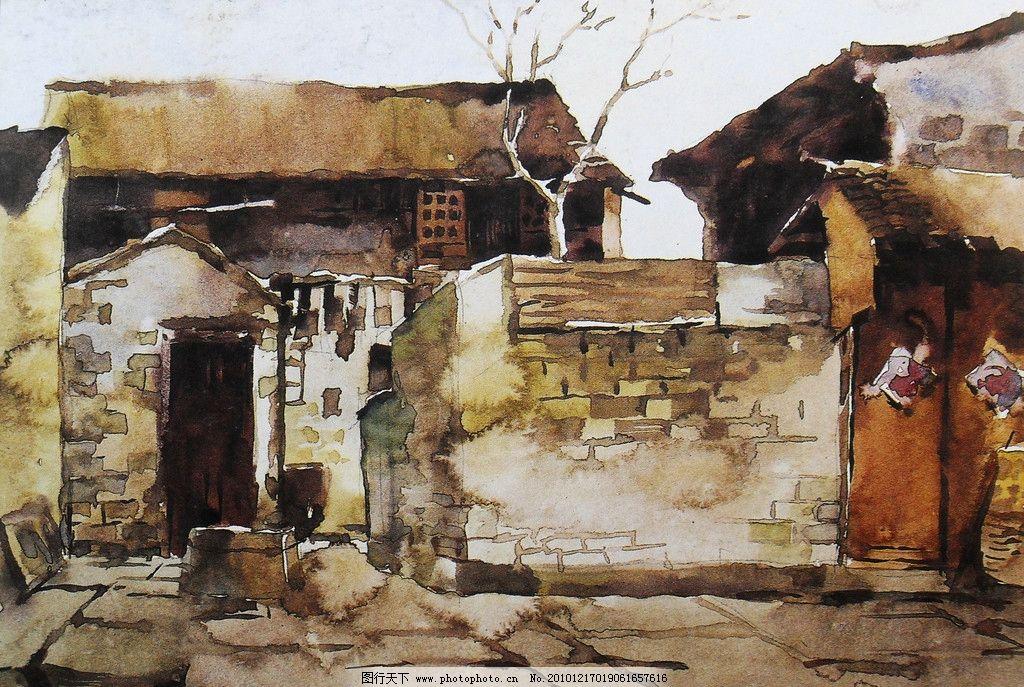 水彩画图片 水彩 水彩画 风景 水彩风景画 民居 房屋 老房子 门 古朴