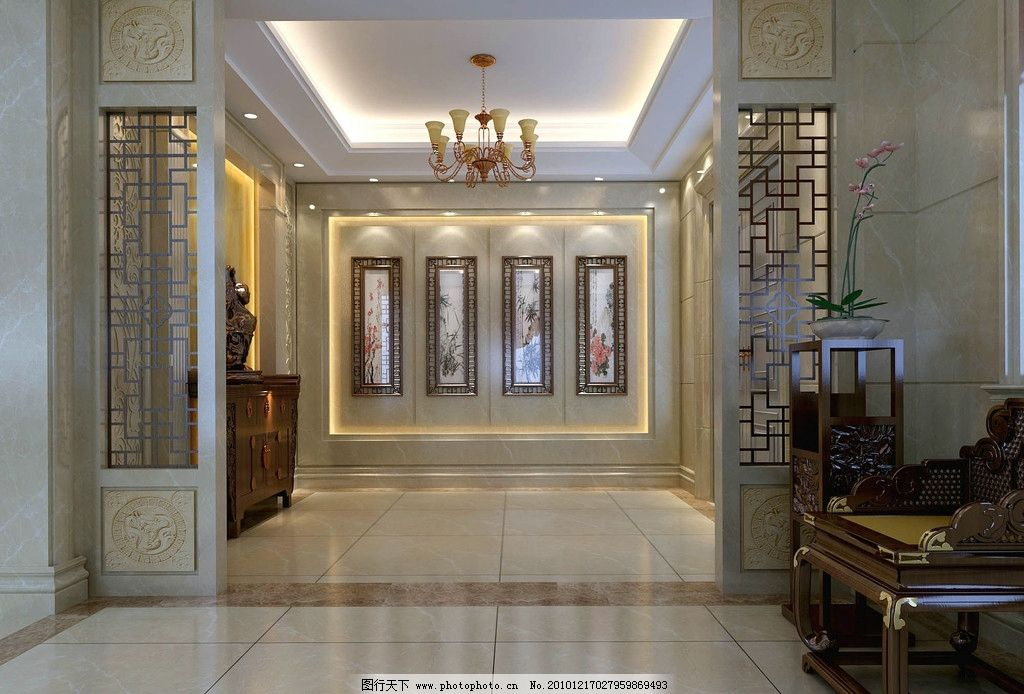 室内设计效果图资料 室内      过厅 中式 设计        室内设计 环境