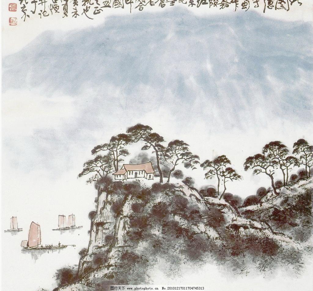 嘉陵江小景 彩墨山水画 房子 风景画 国画 河流 河水 绘画 绘画书法