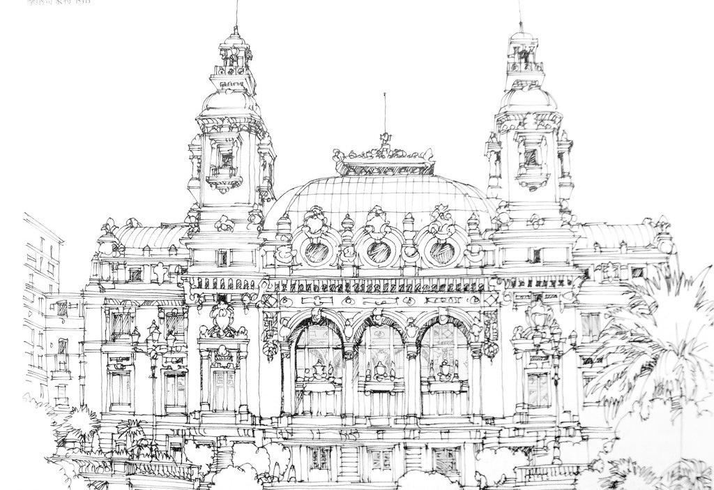 钢笔素描 线条 风景画 黑白画 线稿 线描 速写 建筑速写 建筑 树