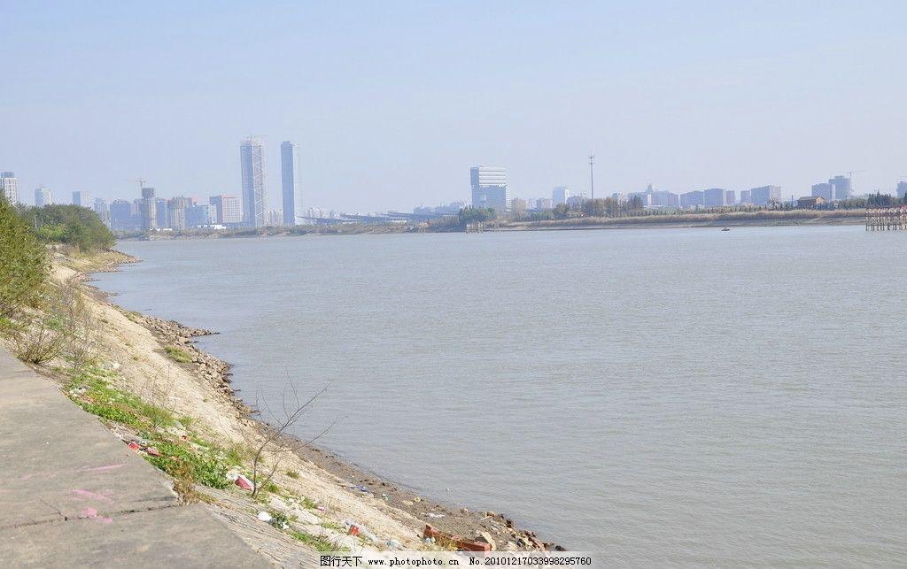 夹江风光 南京 江心洲 高楼 隔江望 长江 江水 江边 国内旅游